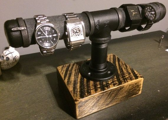 Custom Made Watch holder - Reclaimed Barn Wood & Gas Pipe - Scorched finish-10% off item-Code ACCESSORIES2015