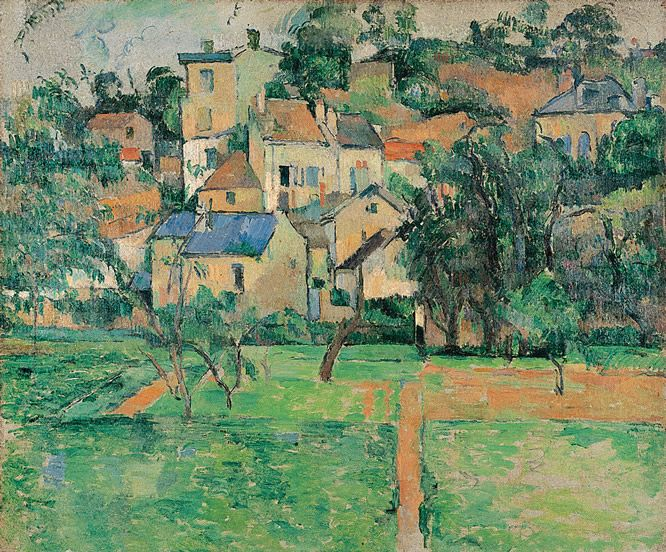 Paul Cézanne, 'El Hermitage en Pointoise', 1881. Óleo sobre lienzo, 46,5 x 56 cm.