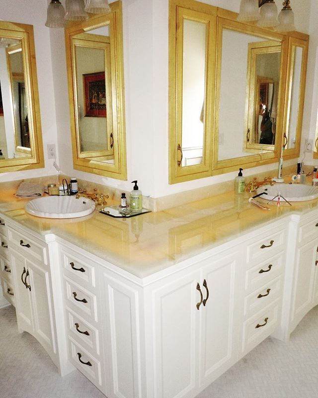Luxury At Its Finest Painted Vanity With Gold Leaf Medicine
