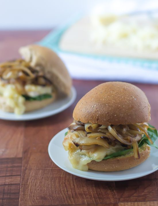 Perfect recipe for camping or grilling: Cheesy French Onion Chicken Sandwiches. The flavors of french onion soup everyone loves in healthy sandwich form!
