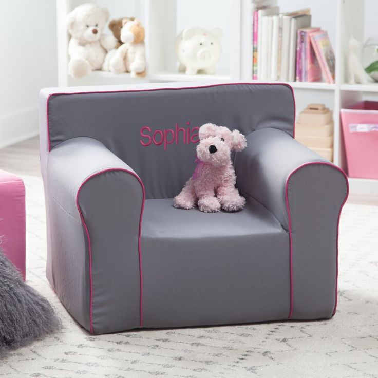Here and There Personalized Kids Chair - Gray Canvas Fuchsia/Fuchsia Piping - 61383P-1
