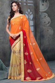 Net and Georgette Party Wear Designer Saree In Beige and Orange Colour