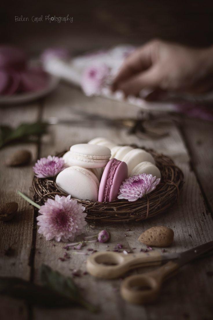 Vanilla and strawberry perfect macarons