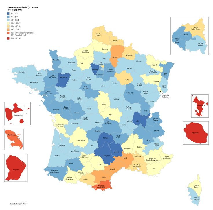 Unemployment rate in France by department, 2015