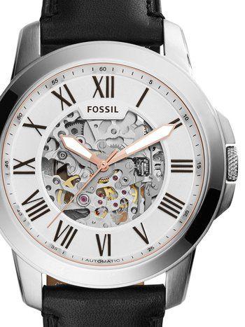 f333d590a4 Pánske hodinky Fossil Grant Automatic ME3101 majú minerálne sklíčko a  remienok náramok z materiálu koža