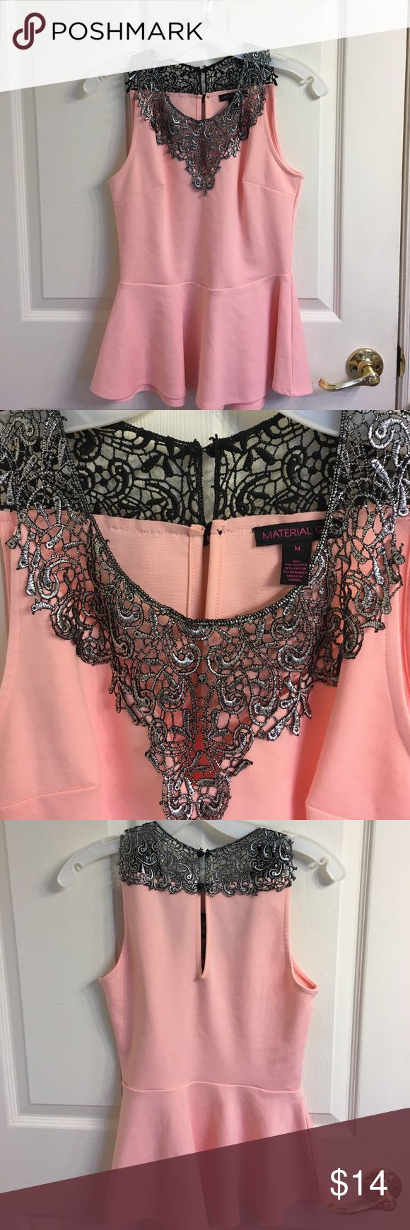 Material Girl Peplum Top Material Girl pink peplum top with black/silver lace. It has only been worn once and has no stains/tears. Size Medium. Material Girl Tops