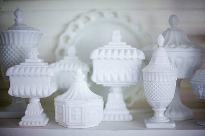 Brabourne Farm:  Milk Glass Candy Dishes