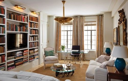Room of the Day ~ white walls and furnishings, glass desk and brass and gold accents in library ~ Alexander Doherty design 9.8.2014