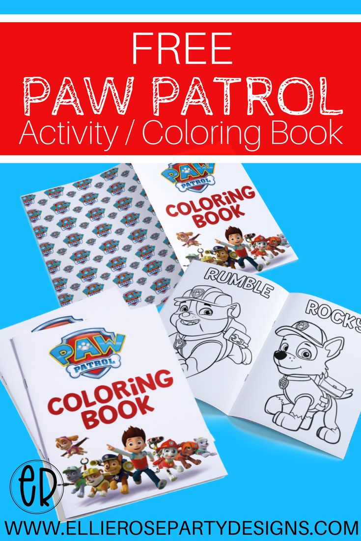 FREE Paw Patrol Coloring Activity Books.  Great for your little kids birthday parties.  Download and enjoy