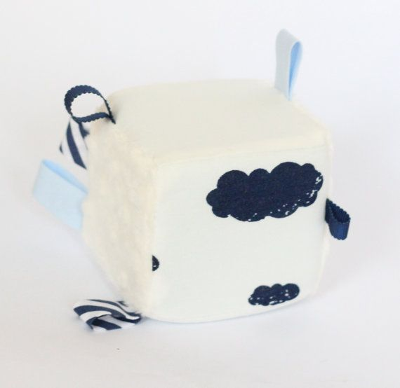 Baby sensory cube Blue clouds- sensory toy - educational toy - baby accesories - nursery - handmade sensory block