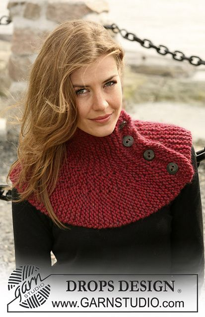 "Ravelry: 104-43 Garter stitched neck with buttons in ""Eskimo"" pattern by DROPS design"
