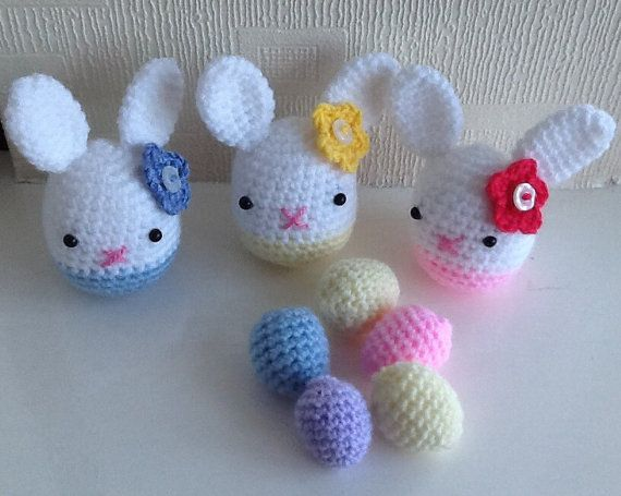 Crochet Amigurumi Easter Bunny Girl with Eggs Set von FunWithYarnz, £6.50