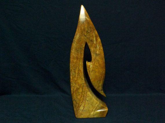 Abstract Stone Sculpture,Modern,Brazilian Brown, Original Soapstone Sculpture,Carving,Signed By Artist.Maori Symbol Inspiration.Tall 16