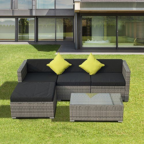 330 outsunny 5pc rattan outdoor garden patio furniture lounge