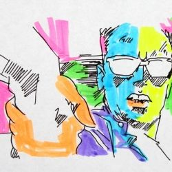 The Schwarzenegger Trilogy - The 3 short animations all hand-drawn 1600 frames cell animation with Highlighters used for color.