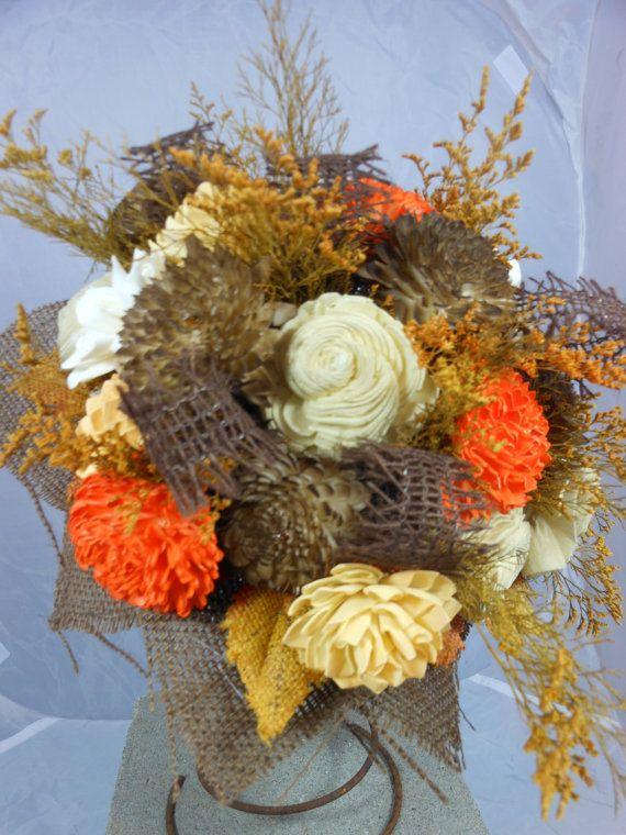 Autumn Leaves Sola Flowers Wedding Bouquet By AMailOrderBride
