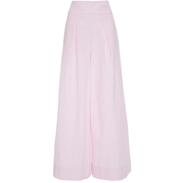 NIKA TANG Irene Wide Leg Pant ($340) ❤ liked on Polyvore featuring pants, pink, high-waist trousers, seersucker pants, high-waisted wide leg pants, high-waisted pants and striped wide-leg pants