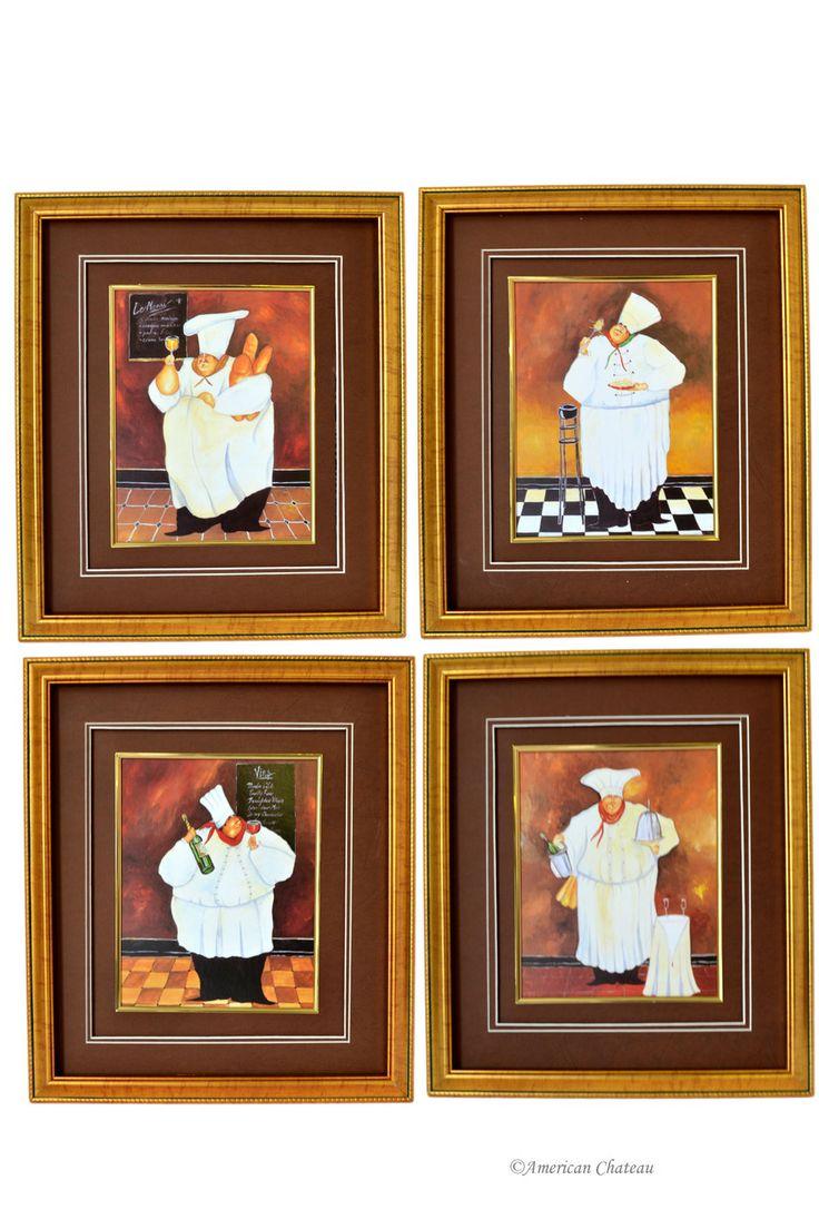 Fat chef kitchen decor sets - American Chateau Set 4 French Fat Chef Kitchen Decor Wall Art Prints Ct4nd355 44 99