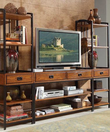 Love this Distressed Oak Modern Craftsman Entertainment Center on #zulily…