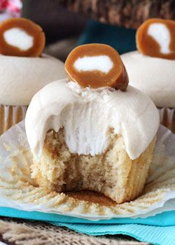 With a brown sugar, browned butter cupcake, cream filling and caramel icing - these Caramel Cream Cupcakes are as sweet and delicious as the candy!