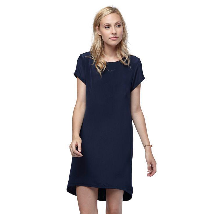 Silk Tee Dress Navy