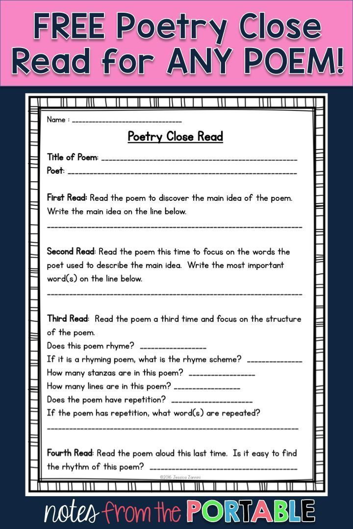 This FREE poetry close read was perfect for my literacy centers and guided reading lessons. A great addition to my poetry unit.