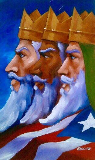 Reyes magos y bandera de Puerto Rico sobre madera