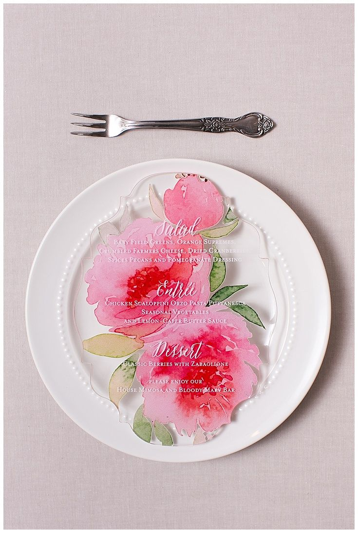64 best custom menus images on pinterest wood wedding invitations laser cut acrylic invitations were designed as a custom menu watercolor pink flowers were printed mightylinksfo Choice Image