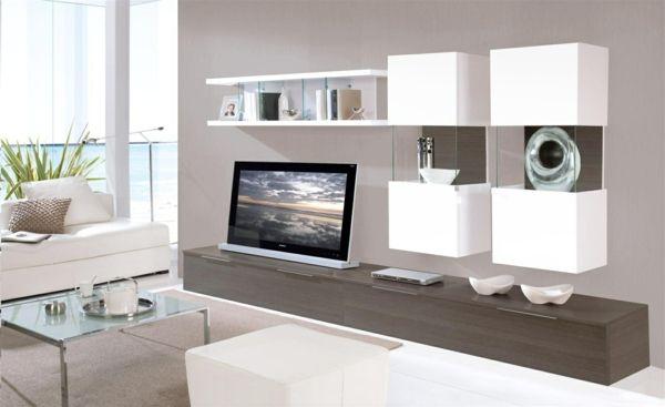 wohnzimmerm bel modern wohnwand wandregale wei pinterest