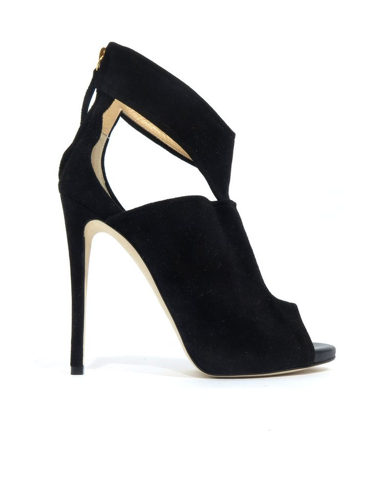 Barneys New York Suede Cut-Out Sandals in black www.sabrinascloset.com