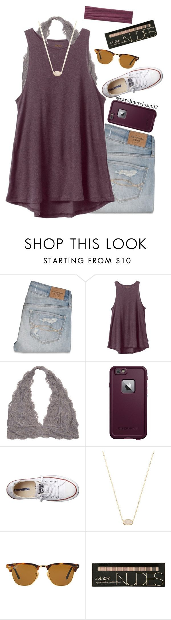 """""""Maroon"""" by carolinescloset93 ❤ liked on Polyvore featuring Abercrombie & Fitch, RVCA, LifeProof, Converse, Kendra Scott, Ray-Ban and Pistil"""