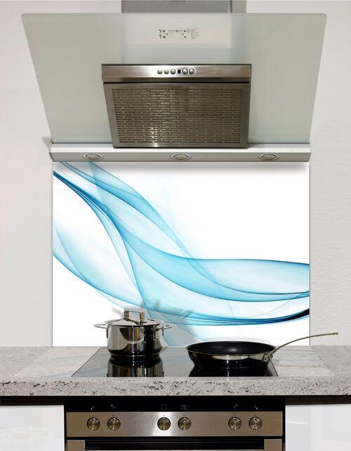 Sheer Turquoise Printed Glass Splashback from DIYSplashbacks.co.uk