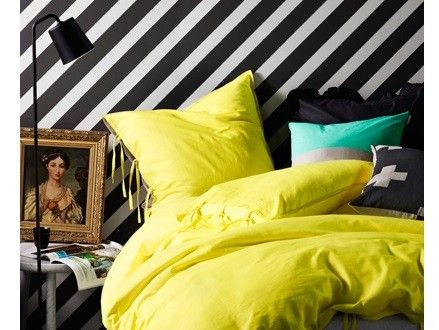 Maison Quilt Cover in Bright Yellow by Aura, featured on The Block, available at Forty Winks