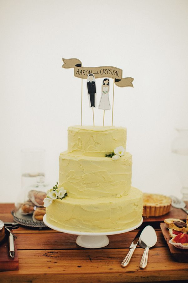Rustic yellow spackled buttercream cake / Crystal and Aaron by Samm Blake Photography