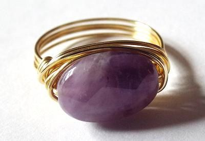 Amethyst ring purple stone ring wire wrap ring by PepperandPomme