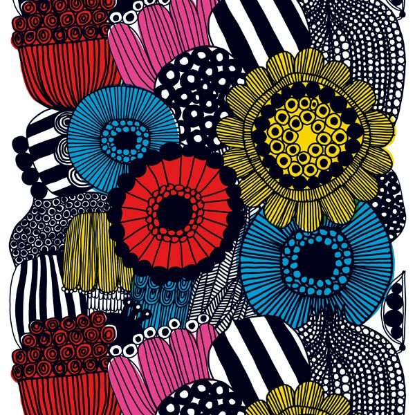 Siirtolapuutarha fabric, colourful, by Marimekko.