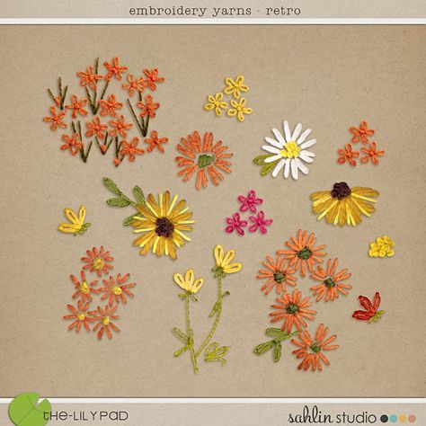 NEW | Embroidery Yarn Flowers: Retro | Sahlin Studio | Digital Scrapbooking Designs