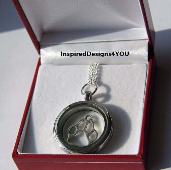 Cat or Dog Paw Floating Glass Memory Locket by JewelleryInspired4U