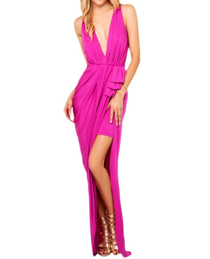 High-waist Deep-V-neck Split Ruched Maxi Dress