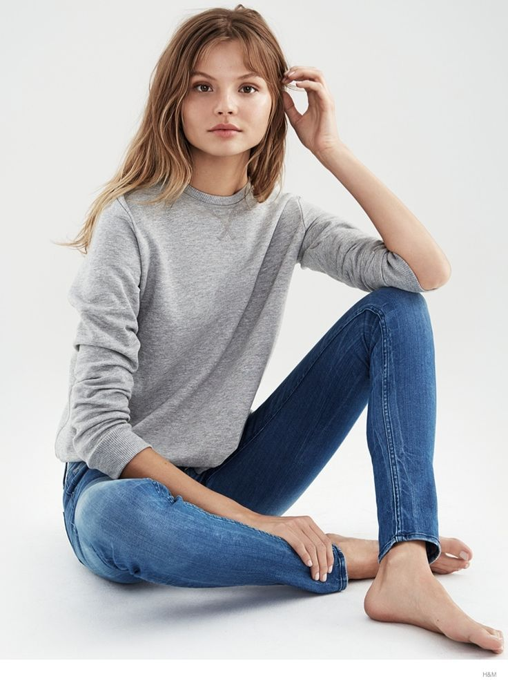 Magdalena Wears Denim--Photographed for a recent trend update from H&M, leading face Magdalena Frackowiak shows off her casual side in denim looks from