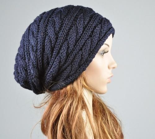 Free Slouch Hat Knitting Patterns | Hand knit hat - Navy hat, slouchy hat, cable pattern hat | maxmelody ...