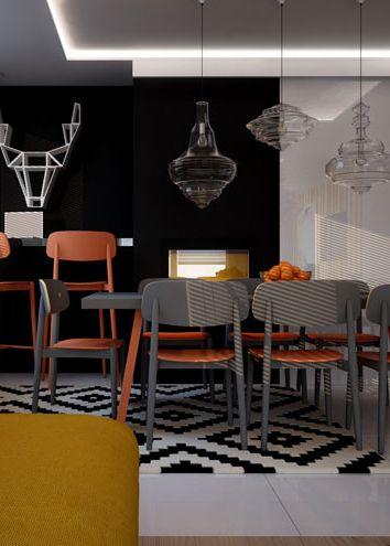 Dining room design in Kalety POLAND - archi group. Jadalnia w domu jednorodzinnym w Kaletach.