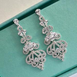 Art Deco Bridal Chandelier Earrings, CZ Crystal Wedding Earrings, Long Cubic Zirconia Bridal Earrings, Vintage Statement Bridal Earrings