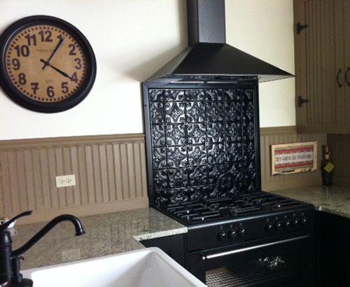 Small Floral Black Backsplash Tin Tinceilingtiles Tiles Tinceiling Homedecor Vintage
