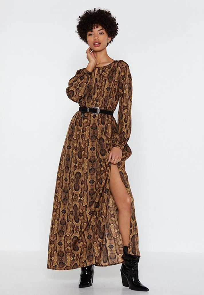 34aee491ba STYLECASTER | The Best Maxi Dresses to Shop for Spring 2019 | Outfit Ideas  and Inspiration: Snake It Extra Balloon-Sleeve Maxi Dress, $30 at Nasty Gal