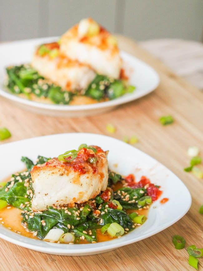 Seared Chilean Sea Bass with Asian Glaze and Spinach  Recipe