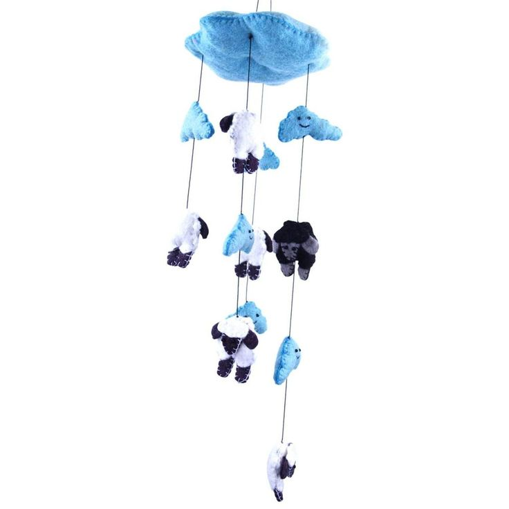 Blue Felt Counting Sheep Mobile - Nepal