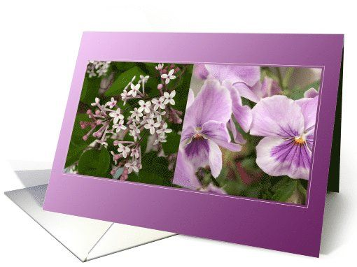 A Purple Harmony of Violets Lilacs Flowers - Thinking of you card by Steppeland