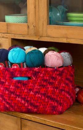 OMG, I so need to make myself one of these for my abundance of yarn :) Store Your Stash Basket Free Crochet Pattern from Red Heart Yarns