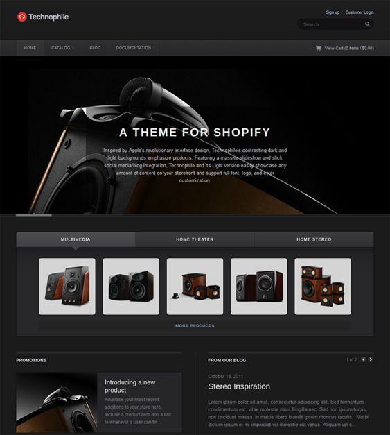 This dark Shopify theme includes a large content slideshow, a clean design, easy color customization, homepage tabs and promo boxes, Twitter integration, MailChimp support, and more.